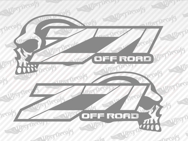Chevy Z OFF ROAD SKULL Decal Stickers - Chevy decals for trucks