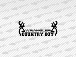 WRANGLER COUNTRY BOY Deer Decals | Jeep Truck and Car Decals | Vinyl Decals
