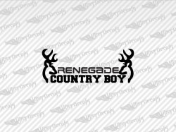 RENEGADE COUNTRY BOY Deer Decals | Jeep Truck and Car Decals | Vinyl Decals