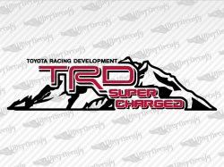 TRD SUPERCHARGED Mountain Decal DRBK | Toyota Truck and Car Decals | Vinyl Decals